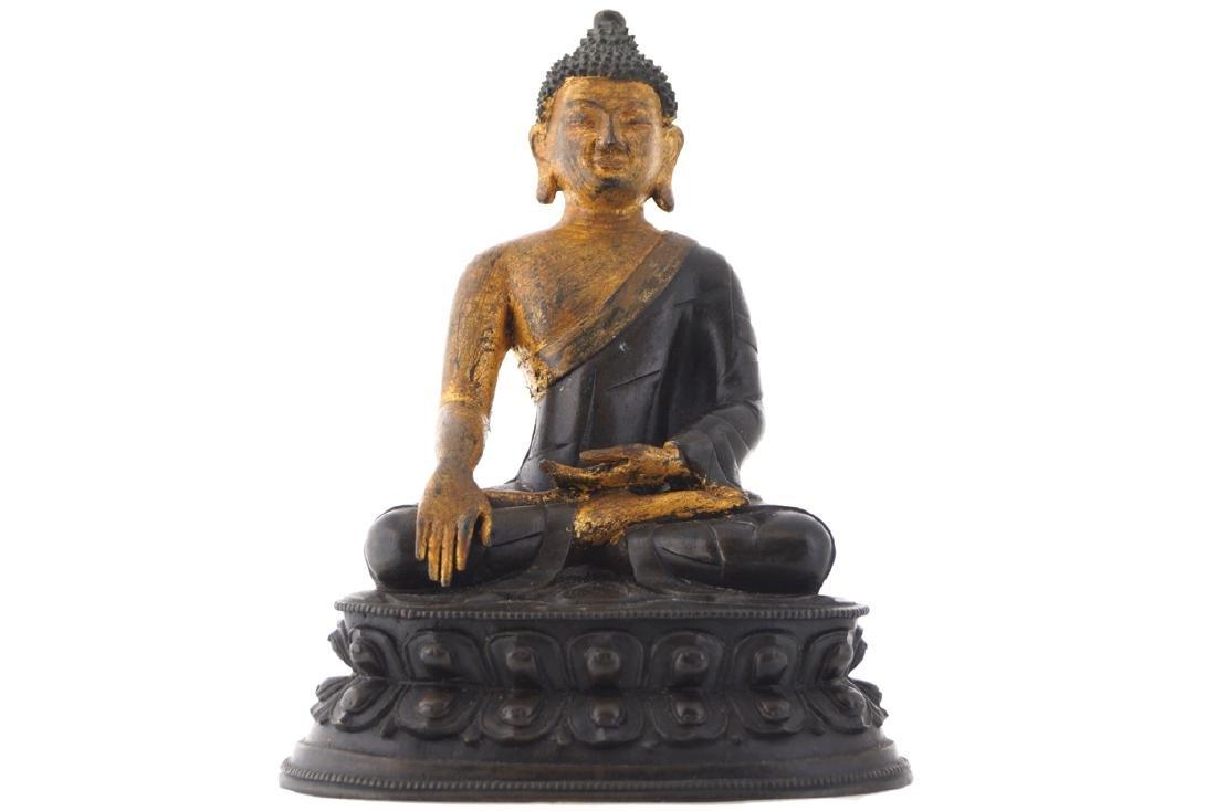 EIGHTEENTH-CENTURY CHINESE PARCEL GILT BRONZE BUDDHA
