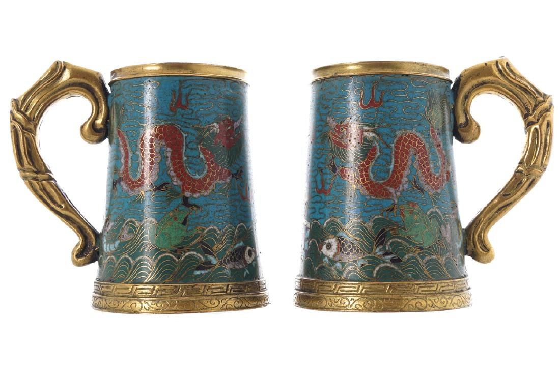PAIR OF CHINESE QING PERIOD CLOISONNE ENAMELLED