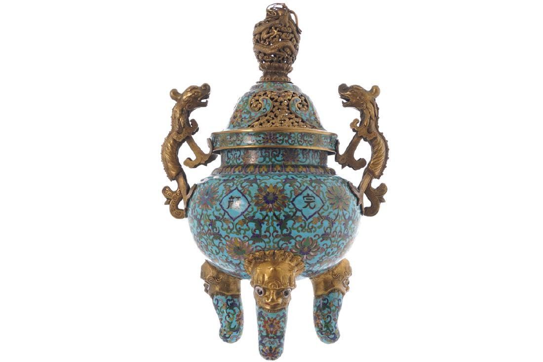 CHINESE QING PERIOD CLOISONNE CENSER