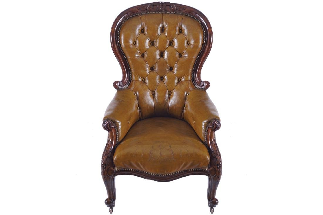 NINETEENTH-CENTURY MAHOGANY AND HIDE UPHOLSTERED