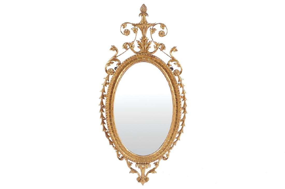 GEORGE III PERIOD CARVED GILTWOOD FRAMED PIER MIRROR
