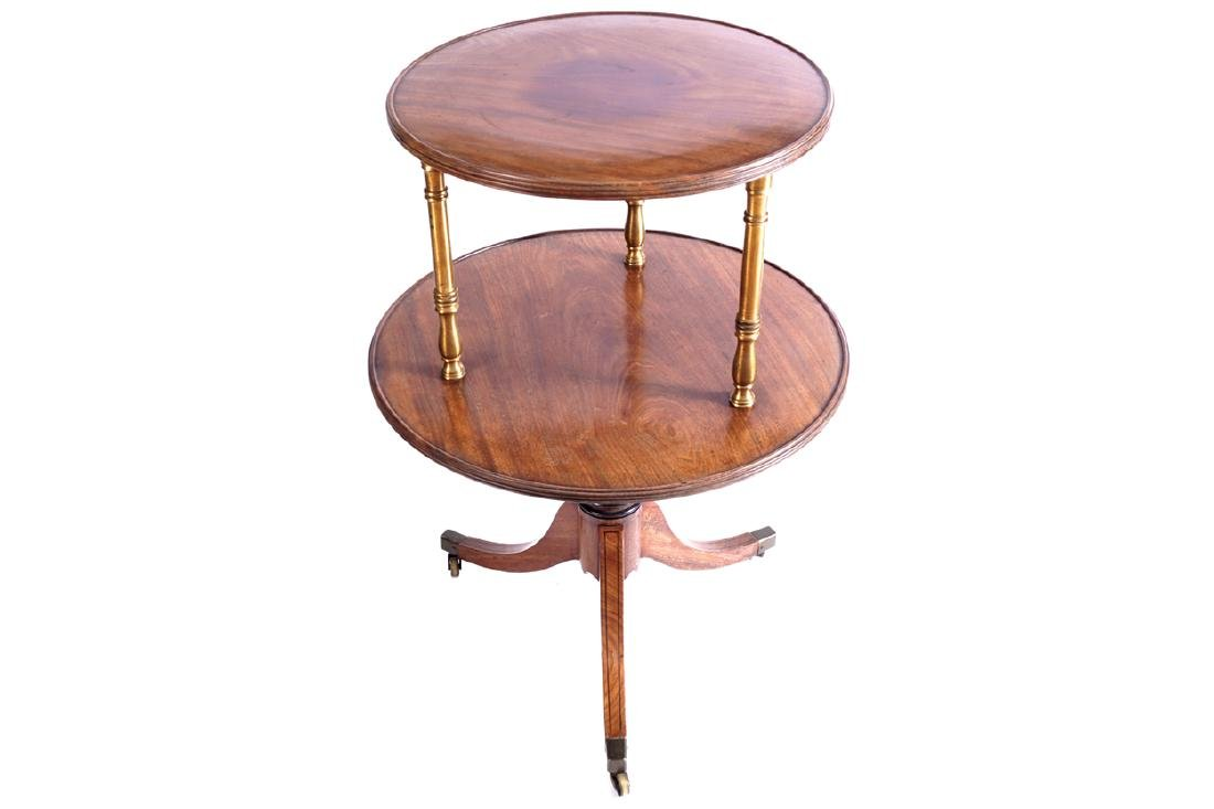 REGENCY PERIOD MAHOGANY AND BRASS TWO TIER CIRCULAR