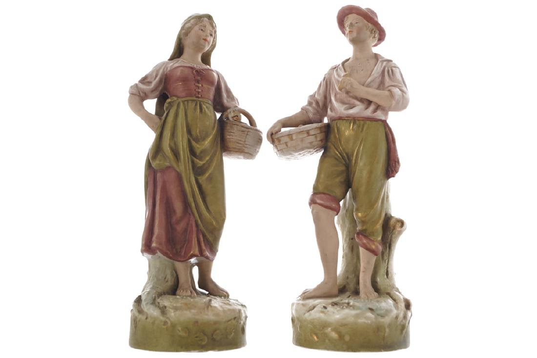 PAIR OF ROYAL DUX POLYCHROME FIGURES