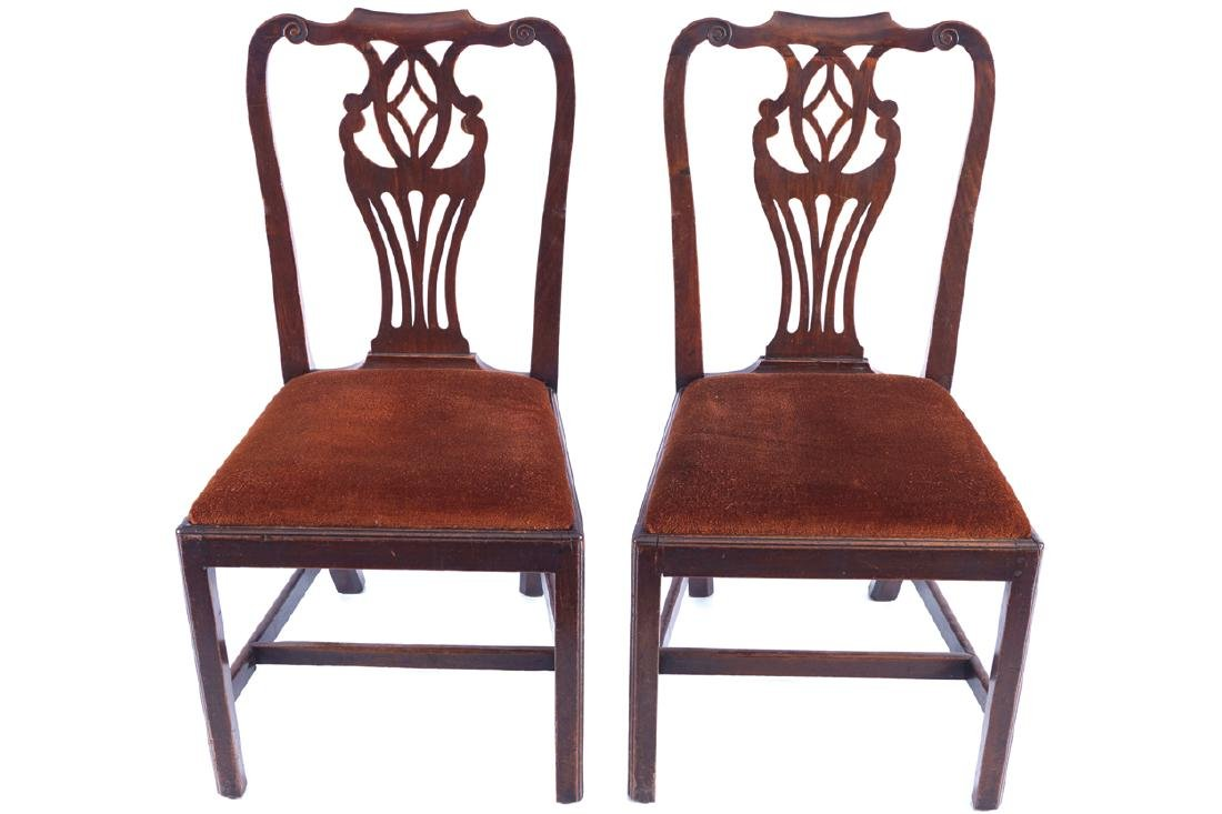 PAIR OF GEORGE III PERIOD CHIPPENDALE SIDE CHAIRS,