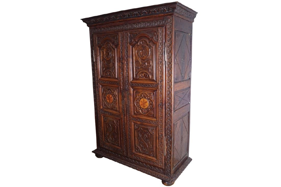 EIGHTEENTH-CENTURY PERIOD CARVED WALNUT ARMOIRE, CIRCA
