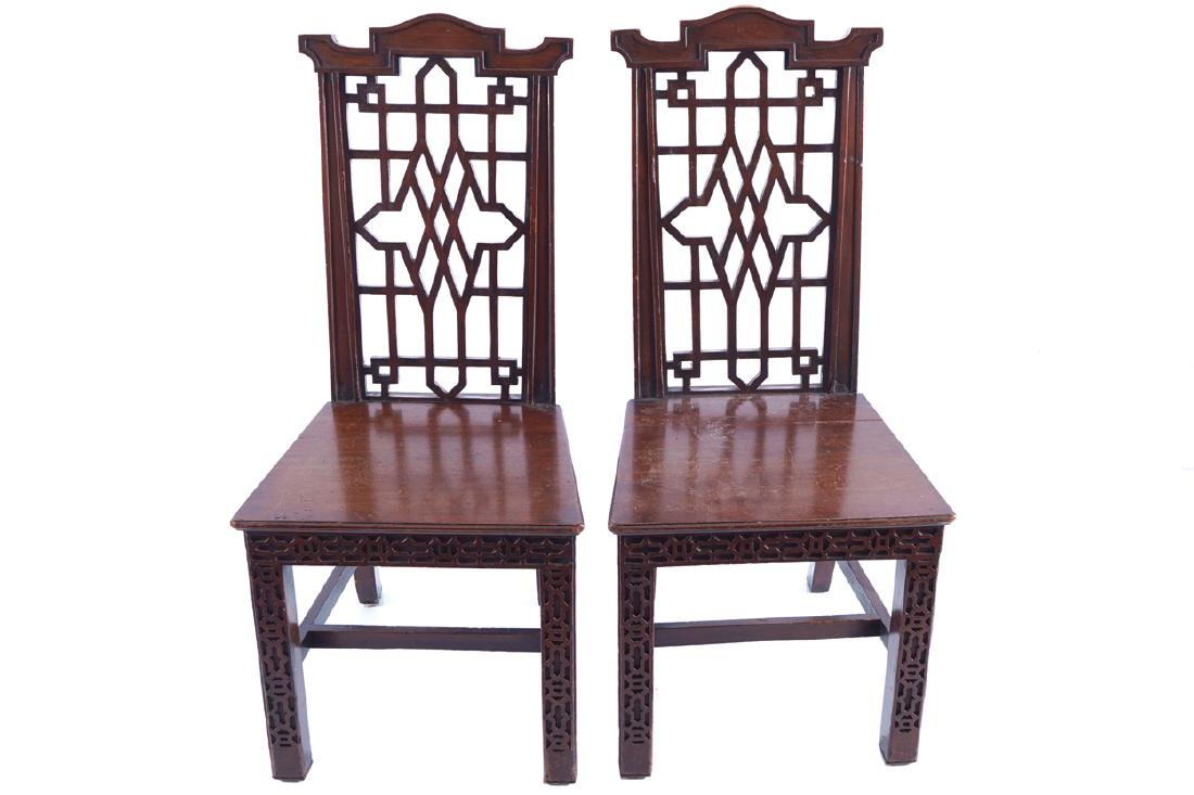 PAIR OF LATE NINETEENTH-CENTURY MAHOGANY CHIPPENDALE