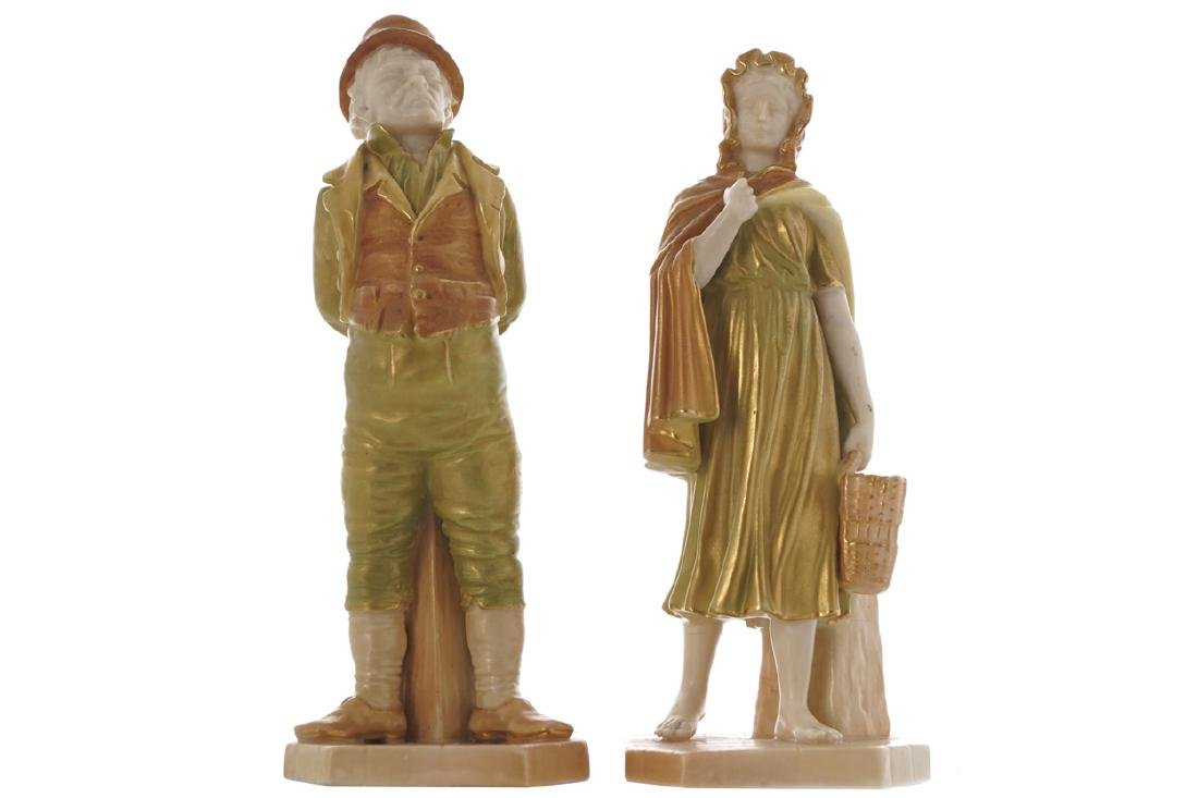PAIR OF WORCESTER POLYCHROME FIGURES