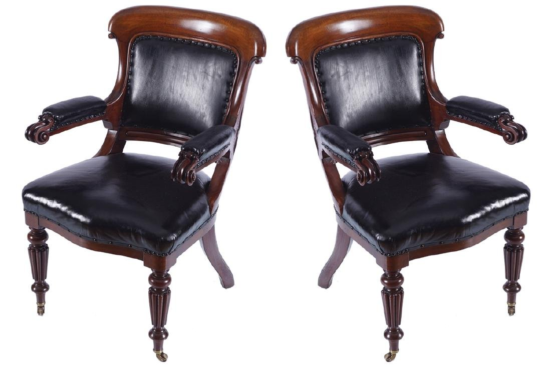 PAIR OF WILLIAM IV PERIOD MAHOGANY AND HIDE UPHOLSTERED