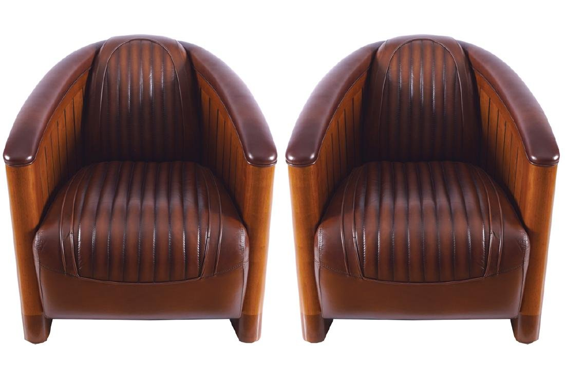 PAIR OF DESIGNER LEATHER TUB CHAIRS