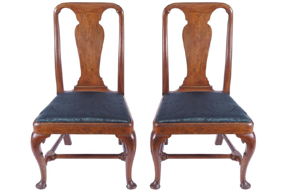 PAIR OF GEORGE I PERIOD RED WALNUT SIDE CHAIRS, CIRCA