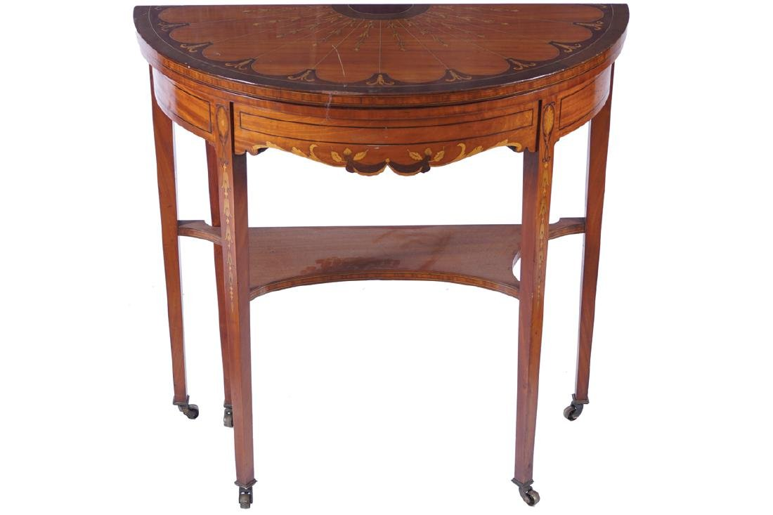 EDWARDIAN SATINWOOD AND MARQUETRY CARD TABLE