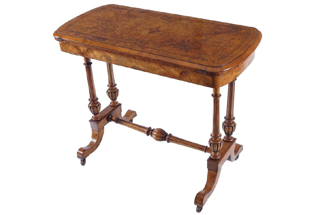 VICTORIAN BURR WALNUT AND MARQUETRY GAMES TABLE