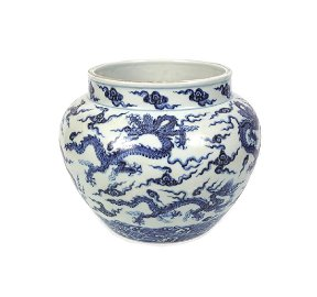 CHINESE BLUE AND WHITE DRAGON BOWL (POSSIBLY MING)