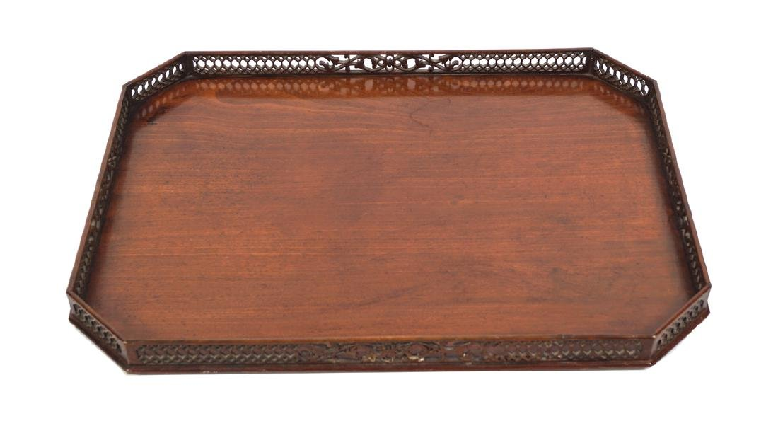 IRISH 19th CENTURY MAHOGANY GALLERY SERVING TRAY