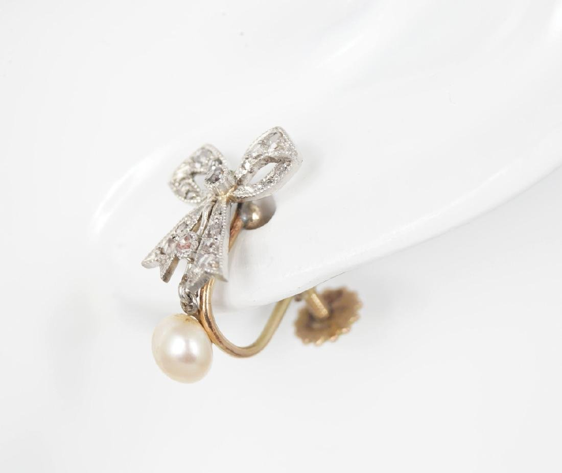 GOLD MARCASITE AND PEARL PENDANT EARRINGS
