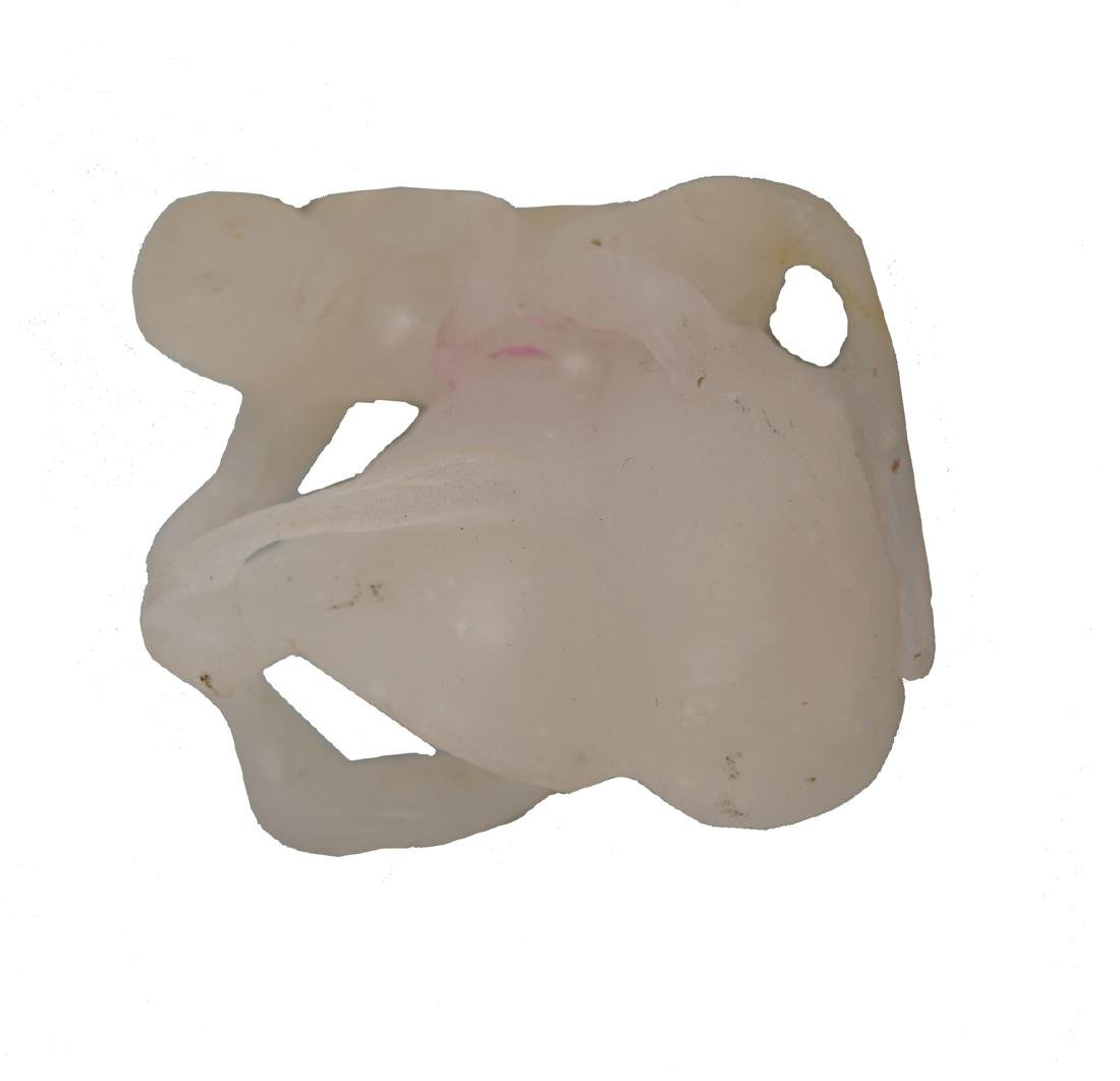 CHINESE WHITE JADE CARVING OF A MONKEY HOLDING A DOUBLE - 2