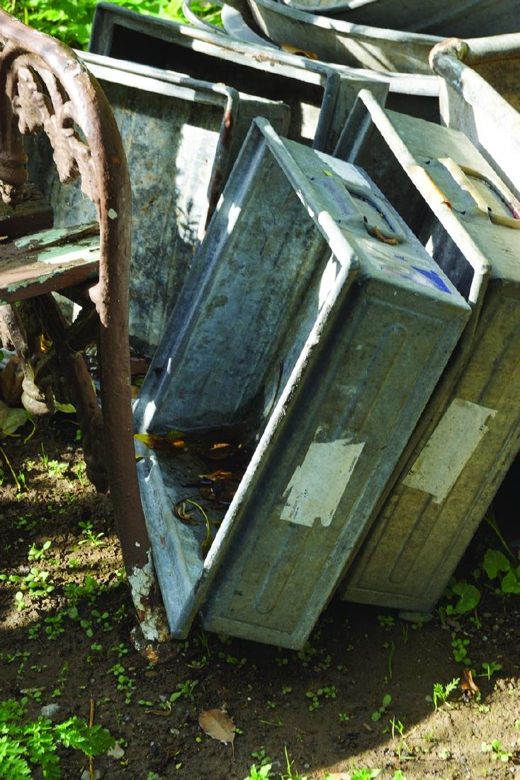 FOUR OLD MID 20TH CENTURY GALVANIZED BOXES