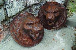 SET OF FOUR REGENCY CAST IRON LION MASK FOUNTAIN HEADS