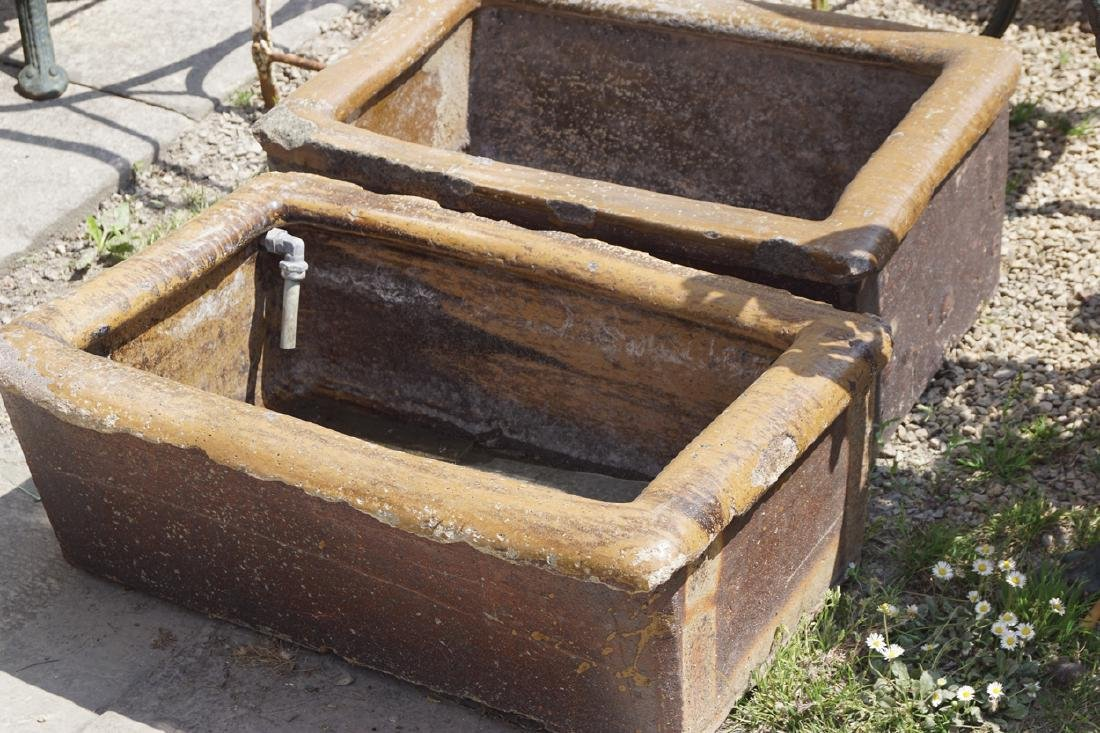 NINETEENTH-CENTURY GLAZED TERRACOTTA TROUGH
