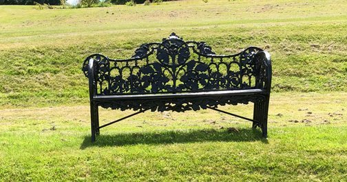 LARGE CAST IRON FERN LEAF DECORATED GARDEN BENCH