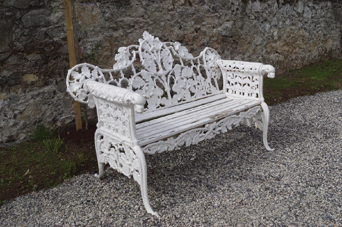 CAST IRON FERN BACK GARDEN BENCH