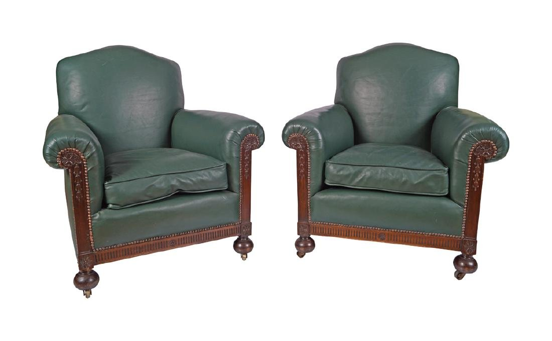 PAIR OF EDWARDIAN MAHOGANY AND LEATHER UPHOLSTERED CLUB