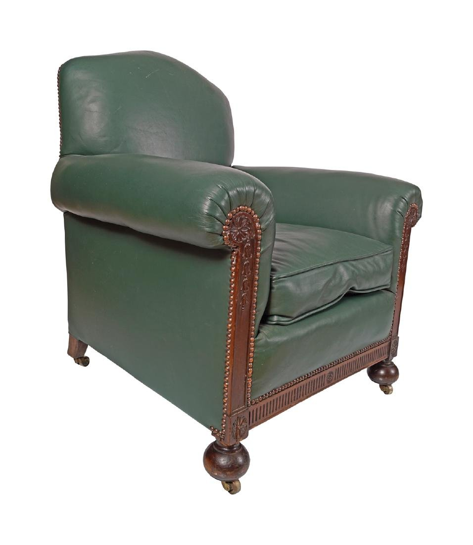 PAIR OF EDWARDIAN MAHOGANY AND LEATHER UPHOLSTERED CLUB - 2