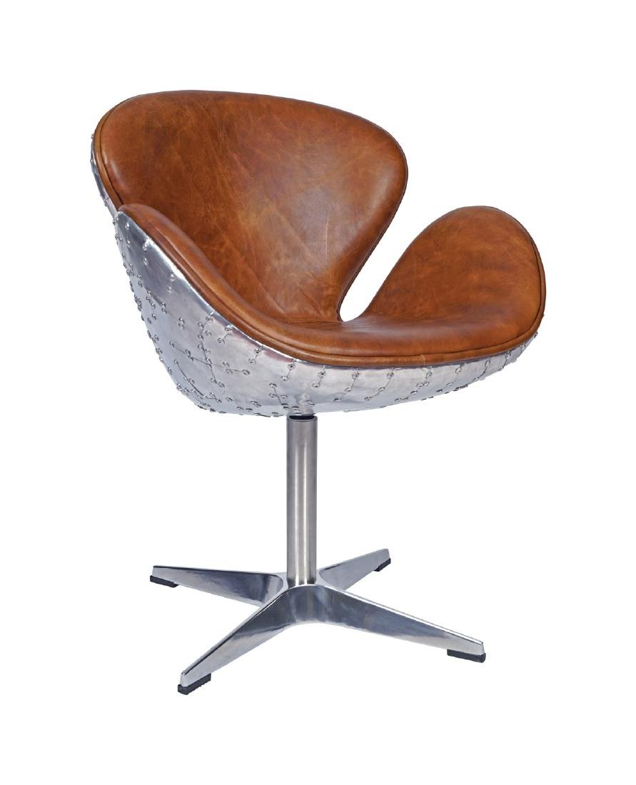 DESIGNER LEATHER AND CHROME SWIVEL DESK CHAIR