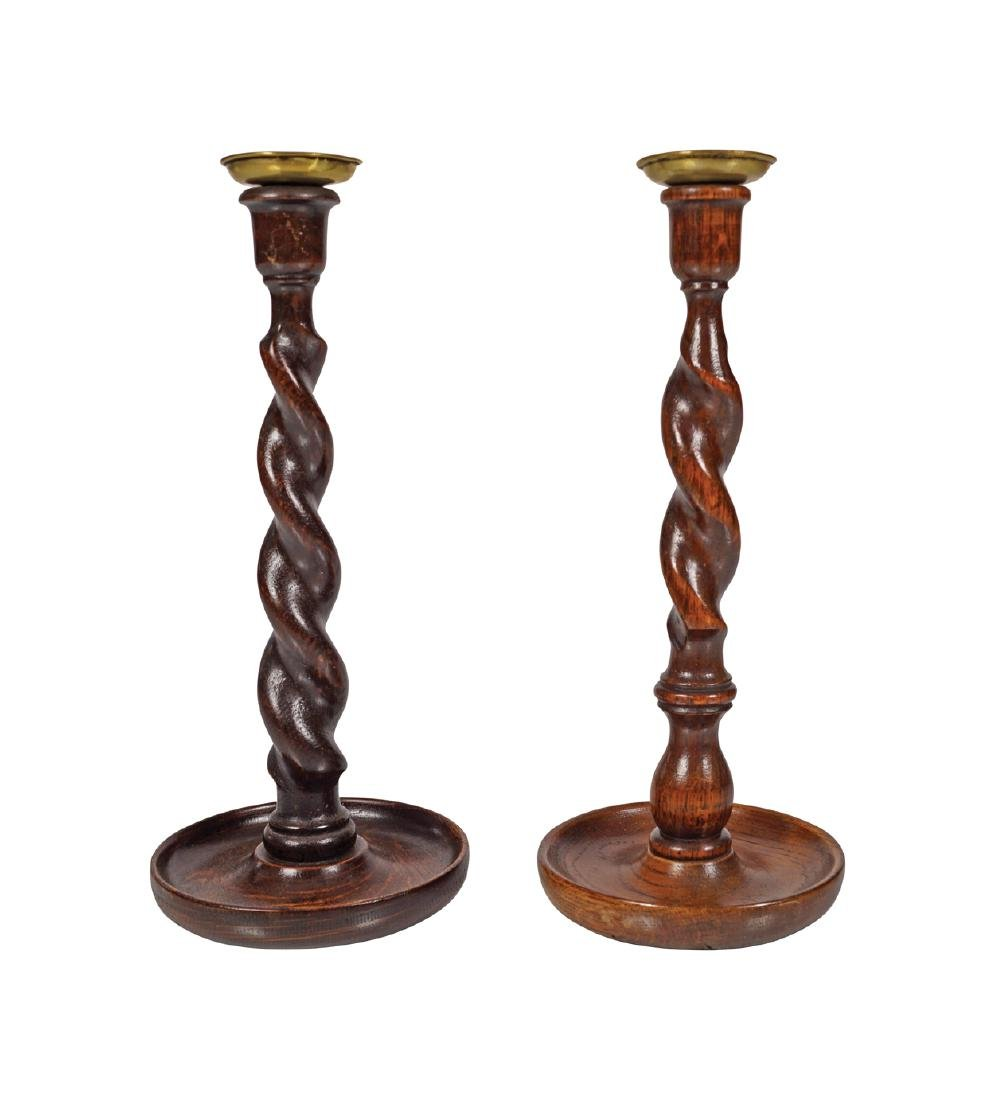 PAIR OF ANTIQUE OAK AND BRASS CANDLE STICKS