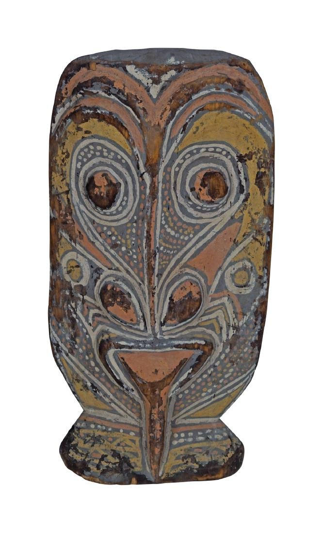 EARLY AFRICAN CARVED WOOD POLYCHROME CEREMONIAL MASK