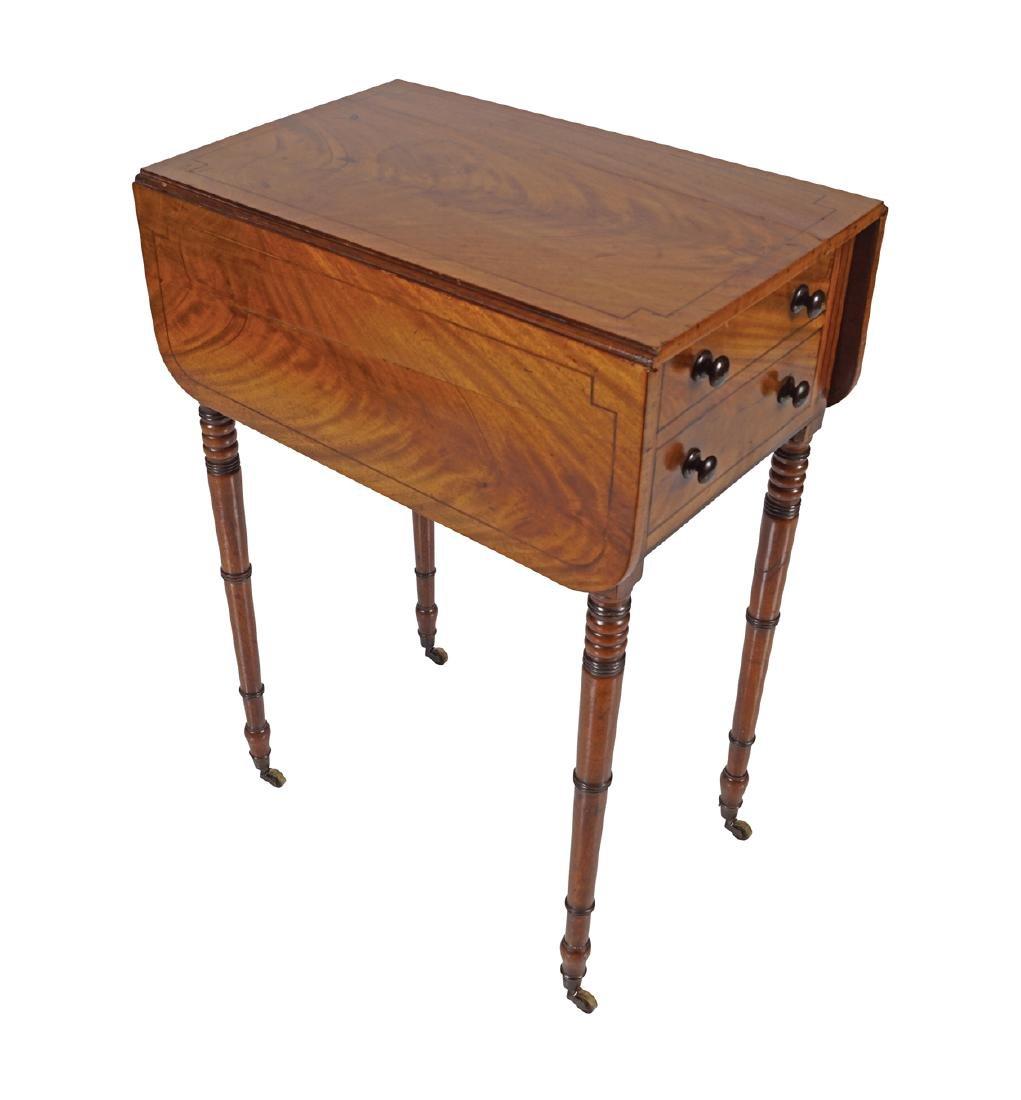 REGENCY PERIOD MAHOGANY AND EBONY INLAID PEMBROKE TABLE