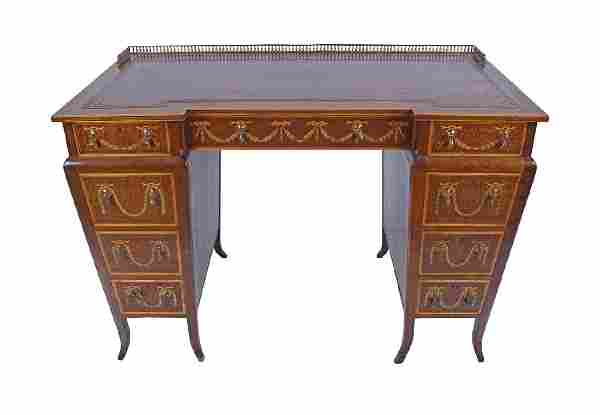 EDWARDIAN PERIOD MAHOGANY AND MARQUETRY KNEEHOLE