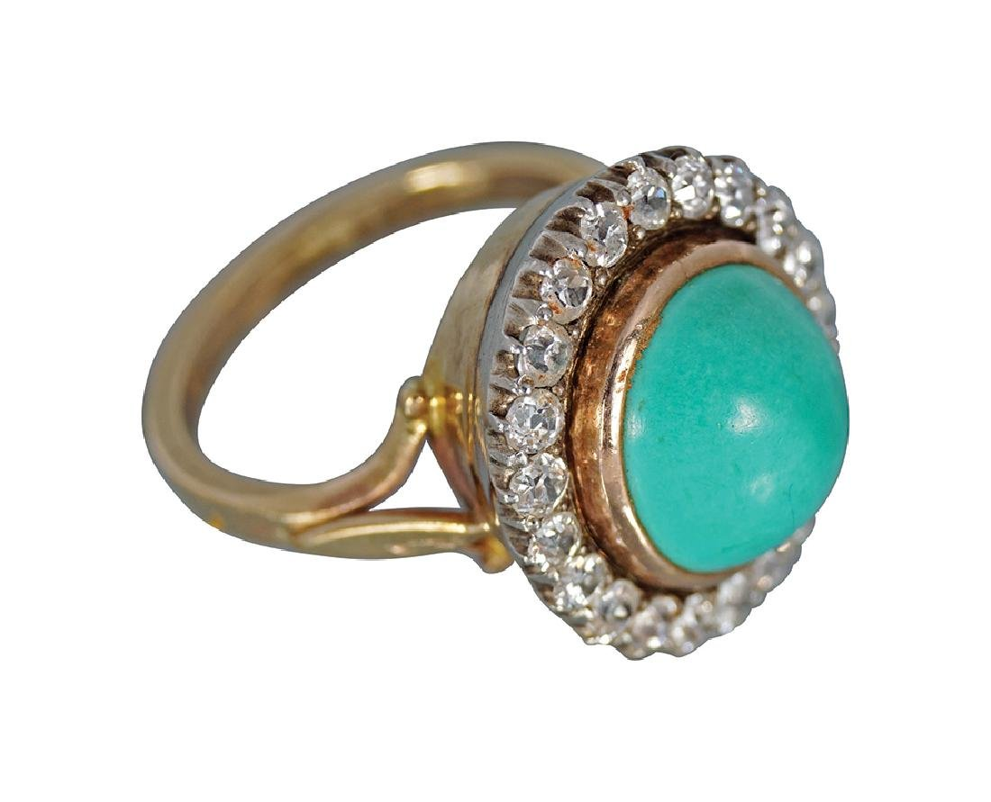 TURQUOISE & DIAMOND CLUSTER RING,
