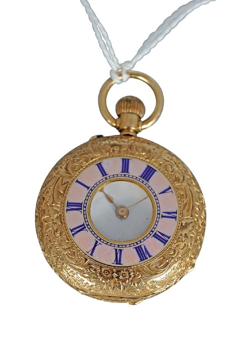 18 CT. GOLD AND ENAMELLED LADIES FOB WATCH
