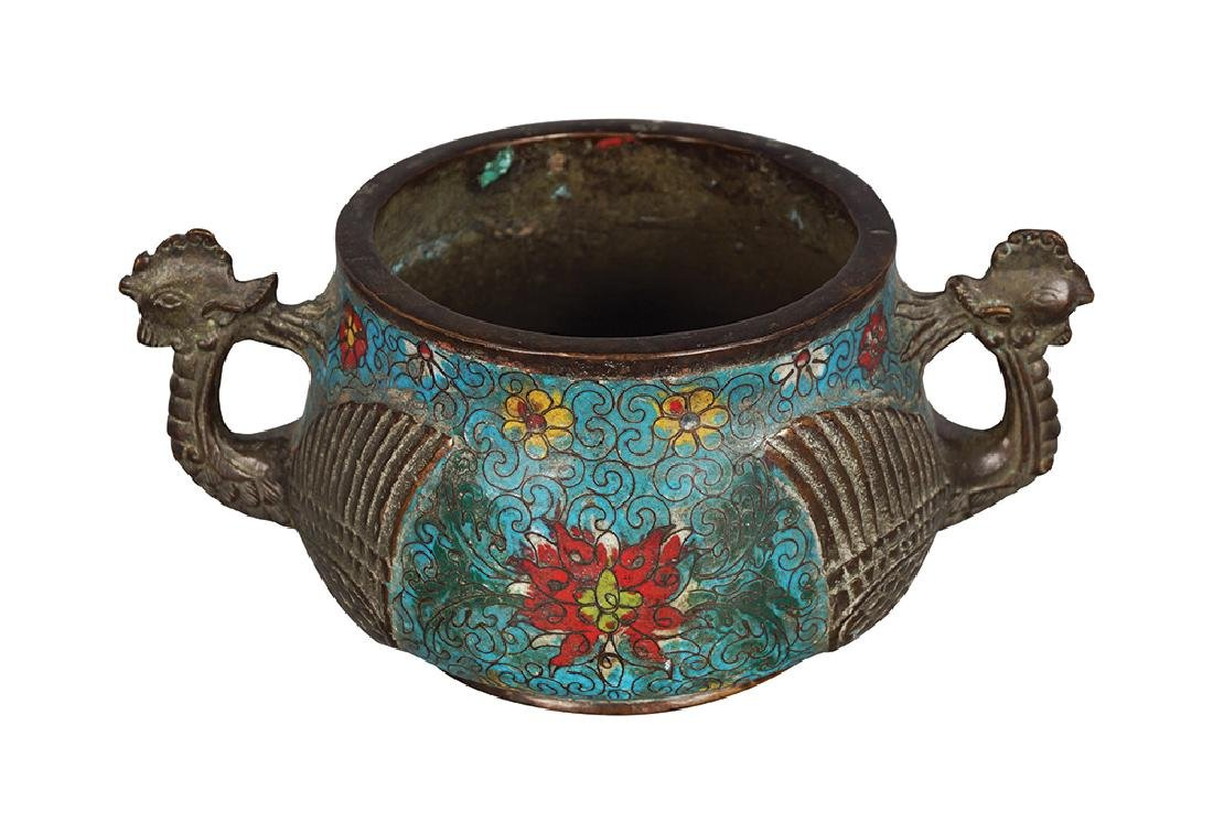 CHINESE QING PERIOD CHAMPLEVE ENAMELLED BRONZE CENSER