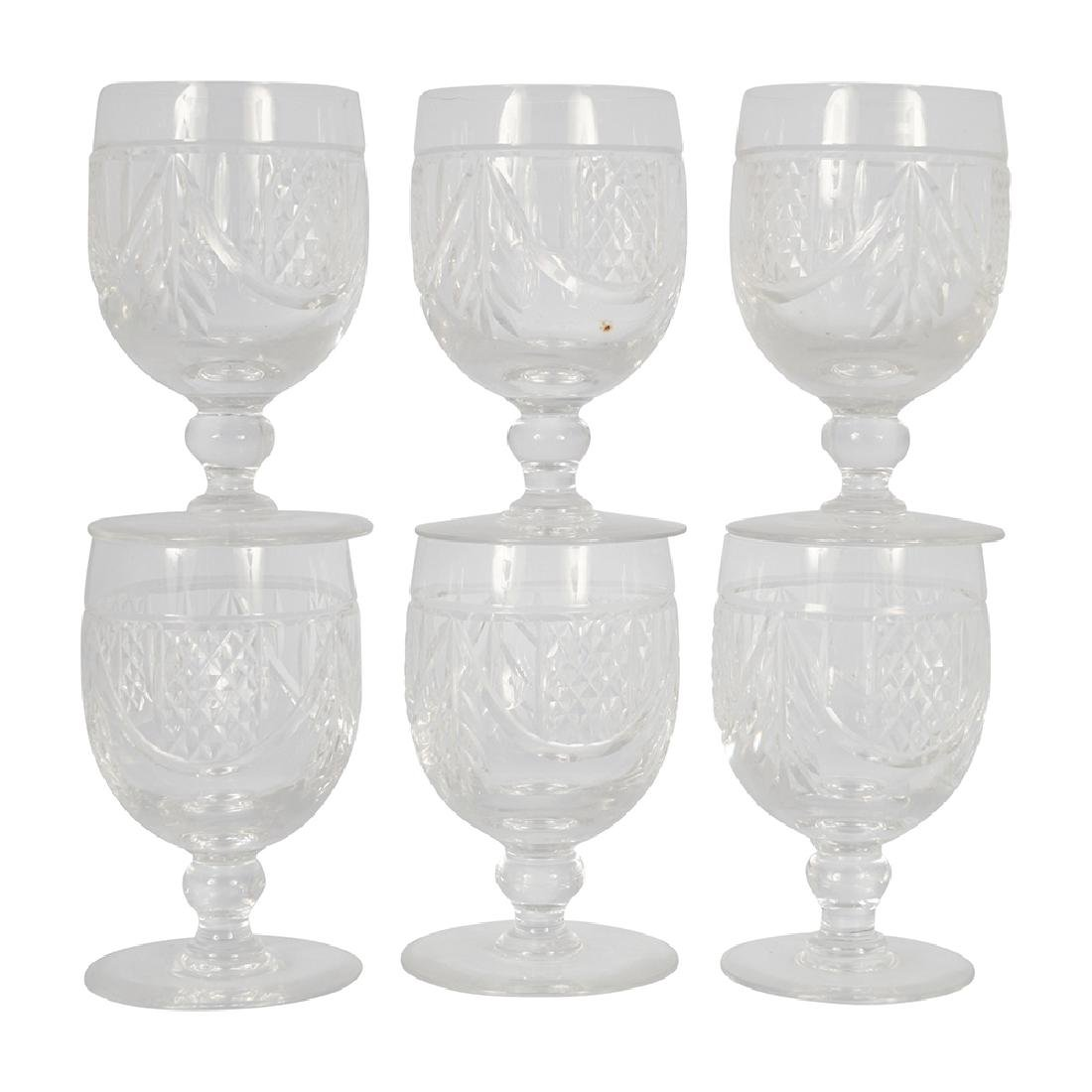 SIX CRYSTAL GOBLETS