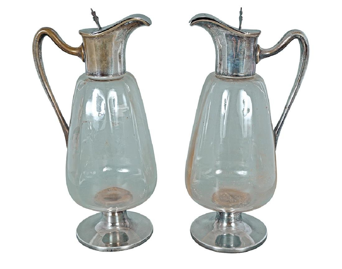 PAIR OF AUSTRIAN GLASS AND HERRMANN MOUNTED CLARET JUGS