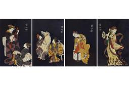SET OF FOUR JAPANESE LACQUERED PANELS