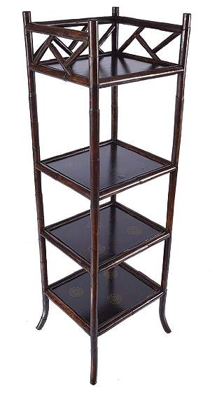 19TH-CENTURY PERIOD FOUR-TIER BAMBOO PILLARED WHAT-NOT