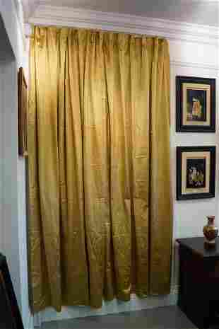 TWO PAIRS OF SILK DAMASK CURTAINS