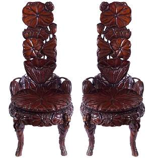 PAIR OF 19TH-CENTURY   JAPANESE CEREMONIAL CHAIRS
