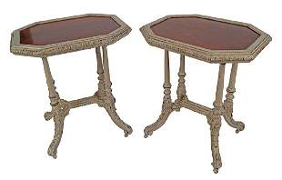 PAIR OF 19TH-CENTURY PAINTED OCCASIONAL TABLES