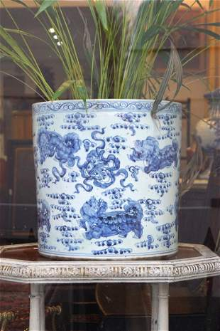 PAIR LARGE CHINESE BLUE AND WHITE JARDINIERES