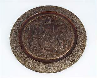 19TH-CENTURY CAST IRON CLASSICAL THEMED WALL PLAQUE