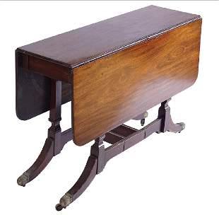 REGENCY PERIOD STRING INLAID DROP LEAF TABLE