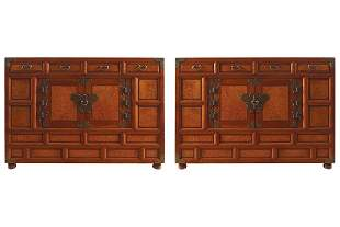 PAIR OF JAPANESE FRUITWOOD BEDSIDE CABINETS
