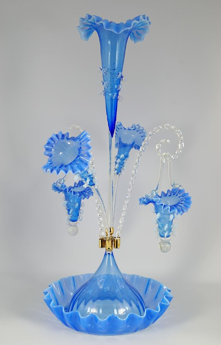 BLUE GLASS EPERGNE