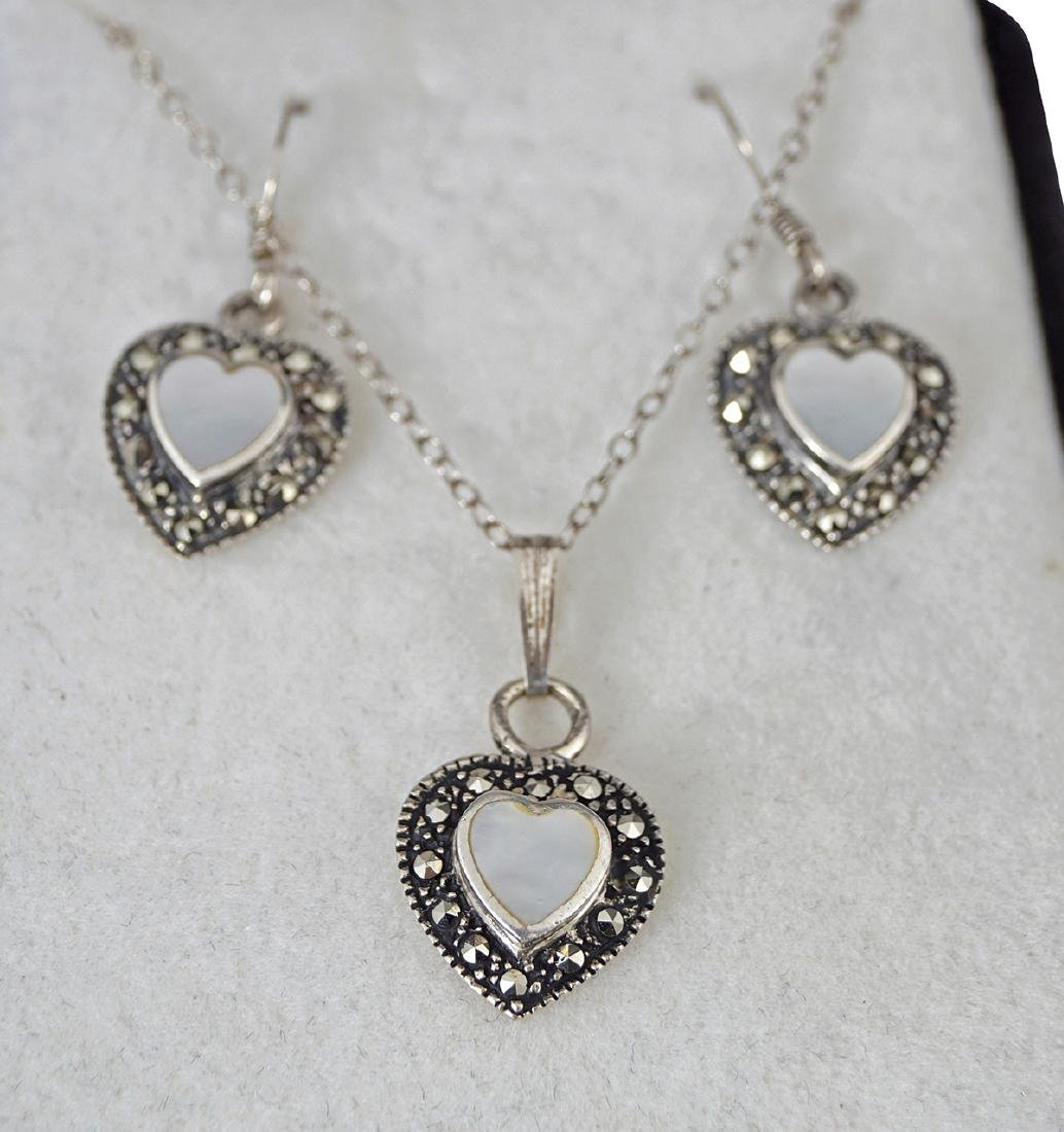 AMERICAN SILVER, MARCASITE AND MOONSTONE SET