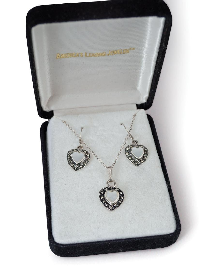 AMERICAN SILVER, MARCASITE AND MOONSTONE SET - 2