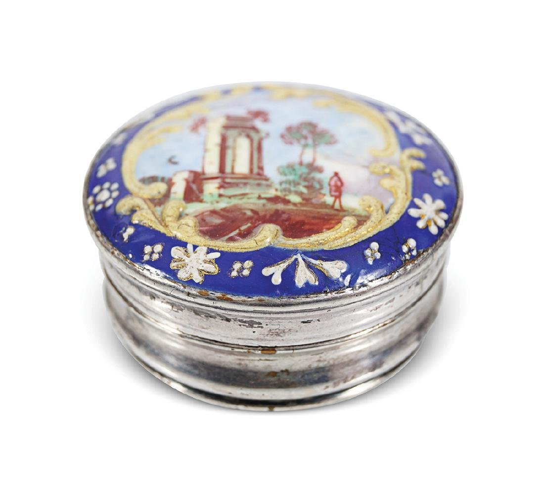 18TH-CENTURY SILVER AND ENAMELLED PATCH BOX - 2